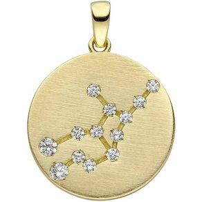 Jobo Sternzeichenanhänger Sternzeichen Jungfrau 333 Gold matt mit 13 Zirkonia