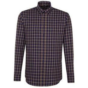 seidensticker Businesshemd Slim Slim Langarm Button-Down-Kragen Karo