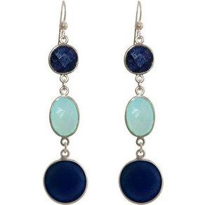 Gemshine Paar Ohrhänger Midnight Blue Saphiren meeresgrüne Chalcedone Made in Germany