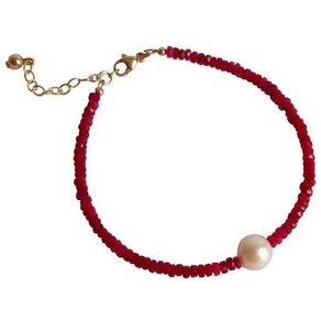 Gemshine Perlenarmband Rubinen und weisse Zuchtperle Made in Germany