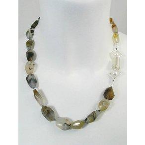 Adelia s Kette ohne Anhänger Achat-Montana Stein Halskette
