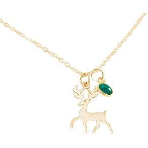 Gemshine Kette mit Anhänger Hirsch Geweih Bambi Smaragd Made in Spain