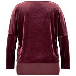 Samoon T-Shirt Langarm Rundhals Samt-Shirt mit Chiffon-Patch