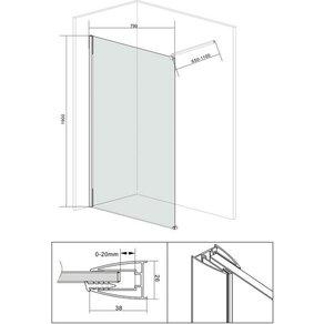 OTTO Walk-In Dusche Duschabtrennung Breite 80 cm Grauglas