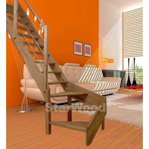 Starwood Raumspartreppe Rhodos offene Stufen 1 4 links gewendelt Holz-Edelstahlgel