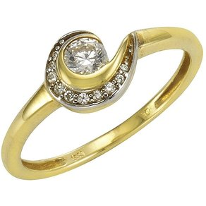Vivance Ring 333 Gelbgold bicolor Zirkonia