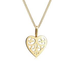 Elli Collierkettchen Herz Ornament Romantisch 585 Gelbgold