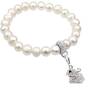 Nenalina Perlenarmband Hase Perlen Swarovski Kristalle Ostern 925 Silber