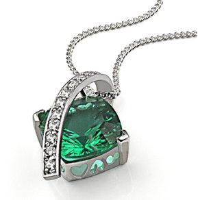 Goldmaid Collier Silber 925 Milleniumcut smaragdgrüner Zirkonia