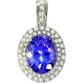 Creazione Bijoux Anhänger 750 Weissgold mit Tansanit und Diamanten