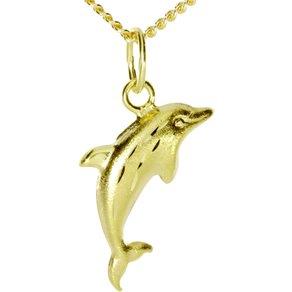 Ostsee-Schmuck Kette mit Anhänger Delphin Gold 333 000