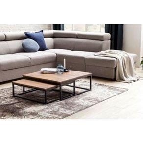 Wohnling Couchtisch AKOLA 2-teilig Massivholz 75 x 27 cm Design Wohnzimmertisch Sheesham Holz Wohnzimmer Lounge Tisch Palisander Massiv mit Metall Beinen