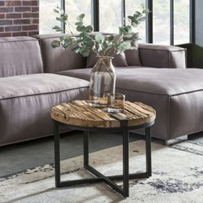 Wohnling Couchtisch BELLARY 60x46x60 cm Rund Sofatisch mit Metallgestell Massiv Holz Wohnzimmertisch Holztisch Mordern Tisch Wohnzimmer Beistelltisch