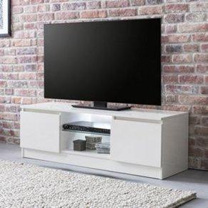 Wohnling Lowboard mit LED WL5 717 Weiss Hochglanz 120 cm HiFi Regal Design Fernsehschrank Kommode Modern TV Board Schublade Beleichtung EEK A Unterschrank Wohnzimmer
