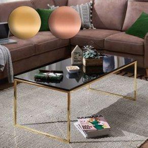 Wohnling Couchtisch RIVA 120x45x60 cm Metall Holz Sofatisch Schwarz Gold Design Wohnzimmertisch rechteckig Stubentisch mit Metallgestell Kaffeetisch klein Wohnzimmer Loungetisch modern