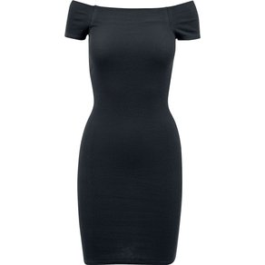 Urban Classics Ladies Off Shoulder Rib Dress Kurzes Kleid schwarz