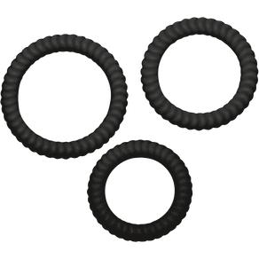 3tlg Penisring-Set mit Rillen 2 6 3 3 5cm