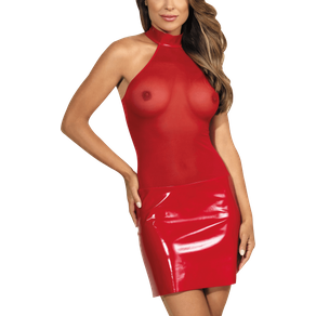 Rotes Wetlook Kleid mit Tüll