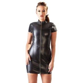 Orion Minikleid aus Leder mit Reißverschluss