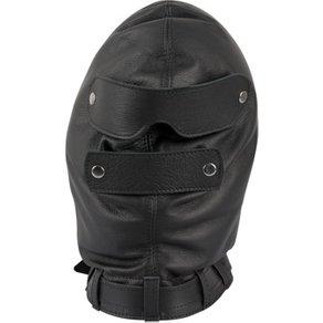 SAXOS Leder Isolationsmaske, extra dick gepolstert, Augen- und Mundklappe abknöpfbar