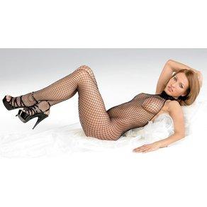 Mandy Mystery lingerie Catsuit aus Netz, ouvert, mit Spitzenhalsband