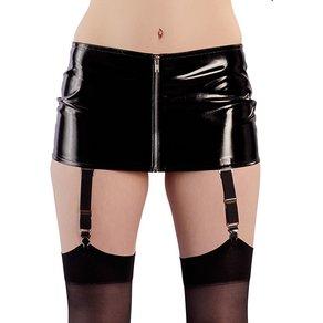 BLACK LEVEL Minirock aus Lack mit Strapsen und Reißverschluss