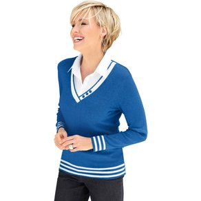 Collection L Damen 2-in-1-Pullover blau Gr 36