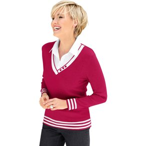 Collection L Damen 2-in-1-Pullover rot Gr 52
