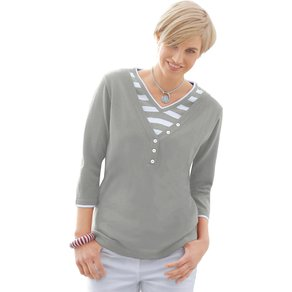 Collection L Damen 2-in-1-Pullover grau Gr 36