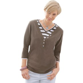 Collection L Damen 2-in-1-Pullover braun Gr 50