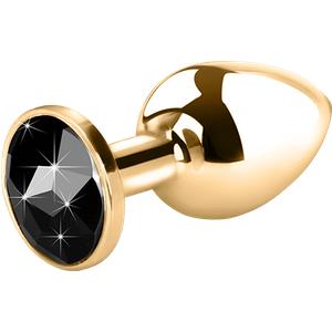 Rimba Edelstahl-Dildo mit Kristall gold 7 5 cm