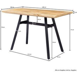 Wohnling Esstisch WL5 954 Mango Massivholz 200x78x100 cm Esszimmertisch Natur Küchentisch Massiv mit Metallgestell Loft Holztisch Industrial Tisch
