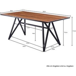 Wohnling Esstisch WL5 942 Sheesham Massivholz Metall Esszimmertisch 180x77 5x90 cm Küchentisch Loft Massiv Holztisch mit Metallgestell Schwarz