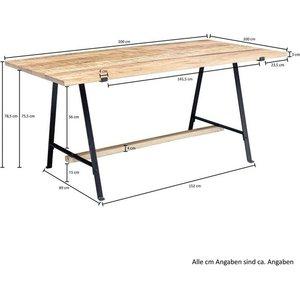 Wohnling Esstisch WL5 935 Mango Massivholz Natur Esszimmertisch 200x78 5x100 cm Küchentisch Loft Holztisch Massiv mit Metallgestell Industrial Tisch