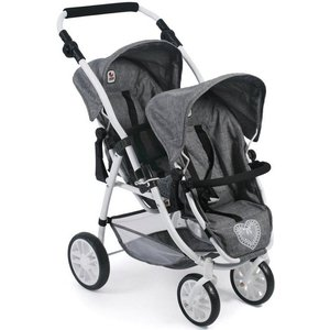 CHIC2000 Puppen-Zwillingsbuggy Vario Jeans Grey