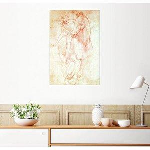 Posterlounge Wandbild Leonardo da Vinci Studie eines Pferdes mit Reiter
