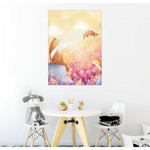 Posterlounge Wandbild Rebecca Richards Füchse und Sommerblumen