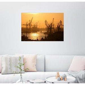 Posterlounge Wandbild Morgenlicht im Hamburger Hafen