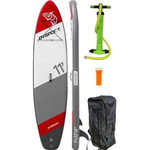 DVSPORT Inflatable SUP-Board DVSport Stand-up-Paddle 11 0 Set 3 tlg mit Pumpe und Transportrucksack