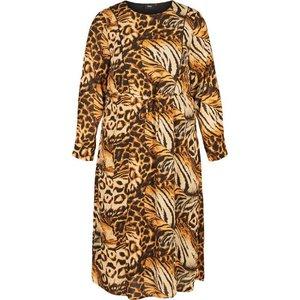 Zizzi Abendkleid Damen Grosse Grössen Kleid Animalprint Langarm Leo