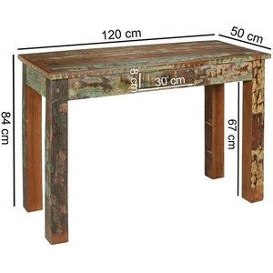 Wohnling Konsolentisch WL5 066 KALKUTTA 120 x 50 84 cm Massivholz Schreibtisch mit Schubalde Anrichte Schlafzimmer Shabby-Chic Wohnzimmer Konsole Flur Gang Tisch Schmal