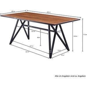 Wohnling Esstisch WL5 941 Sheesham Massivholz Metall Esszimmertisch 200x77 5x100 cm Küchentisch Loft Massiv Holztisch mit Metallgestell Schwarz