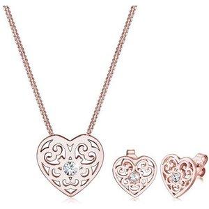 Elli Schmuckset Herz Ornament Swarovski Kristalle 925 Silber