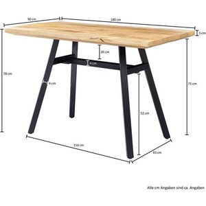 Wohnling Esstisch WL5 952 Mango Massivholz 180x78x90 cm Esszimmertisch Natur Küchentisch Massiv mit Metallgestell Loft Holztisch Industrial Tisch