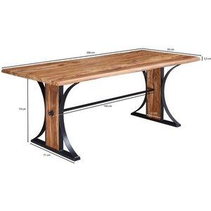 Wohnling Esstisch WL5 566 Design Esszimmertisch Massiv 200x77x93 cm Sheesham Holz Küchentisch mit Baumkante Industrial Stil Massivholztisch Baumkantentisch Gross Designer Baumstamm Tisch