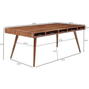 Wohnling Esstisch WL5 586 Esszimmertisch Sheesham 200x77x100 cm Massivholz Tisch Designer Küchentisch Holz Massivher Holztisch Rustikal Speisetisch Massives Echt-Holz Modern