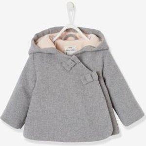 Vertbaudet Winterjacke für Baby Mädchen Kapuze grau Gr 62 von