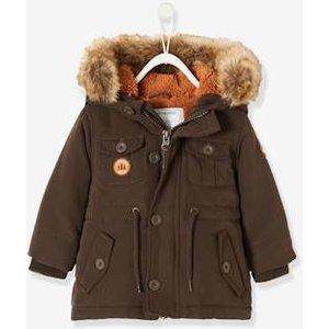 Vertbaudet Winterjacke mit Fellkapuze Baby Jungen braun Gr 62 von