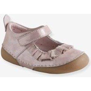 Vertbaudet Ballerinas für Baby Mädchen weiches Leder rosa Gr 18 von