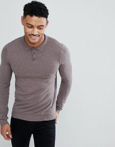 Read more about Asos muscle fit knitted polo in light khaki - slate stone